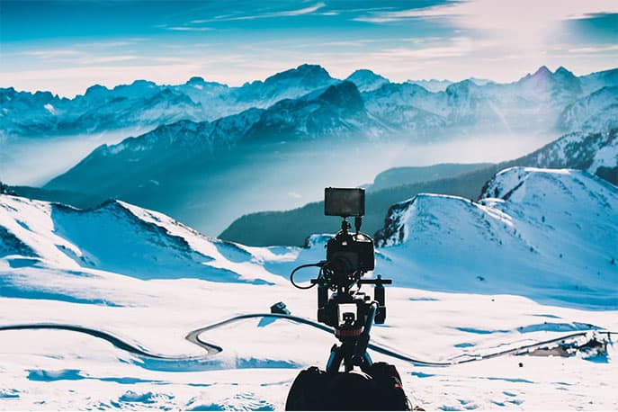 Kamerastativ in den Bergen